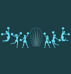 silhouettes cheerleaders with pom-poms on dark vector image