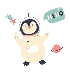 Smiling penguin in an astronaut costume and helmet vector