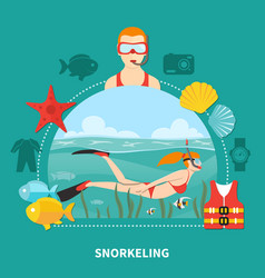 Snorkeling composition on turquoise background vector