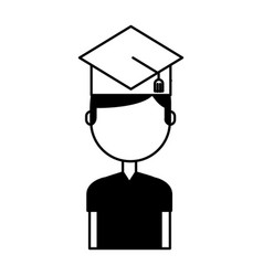 Student with hat graduation avatar vector
