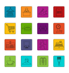 Supermarket navigation icons doodle set vector