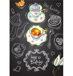 Tea and sweets top view vector image