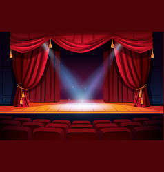 theater stage with rows seats and curtains light vector image