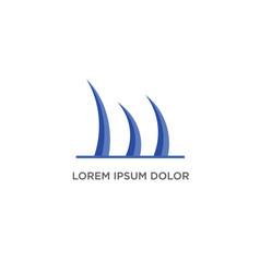 three wave logo design vector image