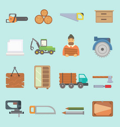 timber forest lumbering production icons vector image