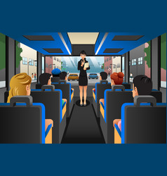 Tour guide talking to tourists in a tour bus vector