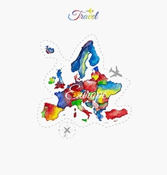 Travel around the world Europe Watercolor map vector