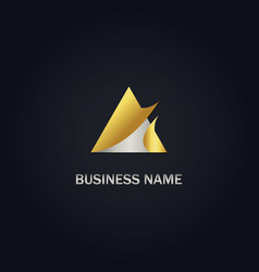 triangle loop gold company logo vector image