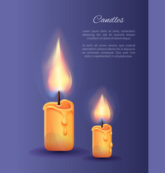 Two burning candles small and big with lit flame vector
