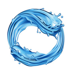 Waves splashing water natural blue liquid in a vector