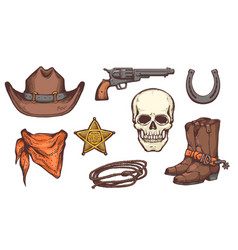 wild west symbol drawing set - cowboy hat boots vector image