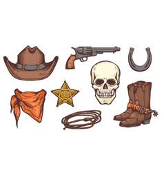 wild west symbol drawing set - cowboy hat boots vector image
