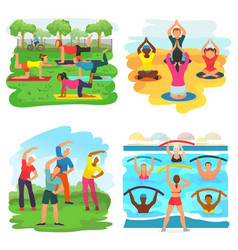 Workout exercise active people exercising vector