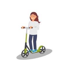 young woman riding kick scooter healthy and vector image