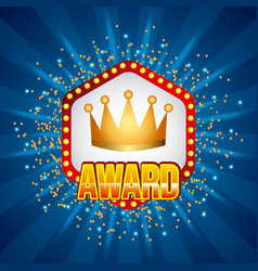 award crown banner lamps stars blue background vector image