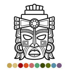 mexican african aztec mask coloring page vector image