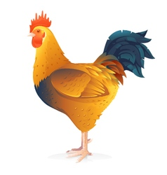 One brown rooster vector