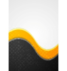 Abstract black and orange grunge waves background vector image