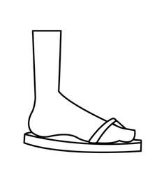 cartoon feet sandal vacation style outline vector image