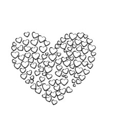 monochrome sketch of many hearts forming a big vector image