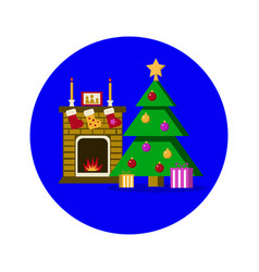 new year room christmas tree with fireplace vector image