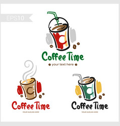 set of retro coffee badge label logo design in vector image vector image