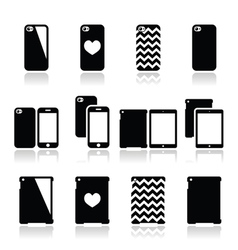 Smartphone tablet case icons set vector image vector image