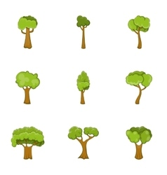 Tree branch with green leaves icons set vector image