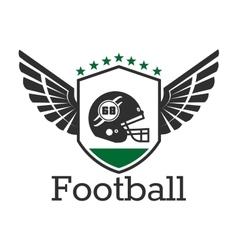 American football retro icon with helmet on shield vector image