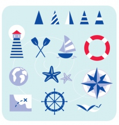 blue nautical and sailor icons vector image