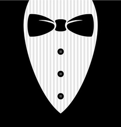 Bow tie with shirt buttons and man black suit vector image