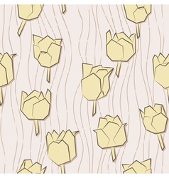 Seamless pattern with paper tulips vector image vector image