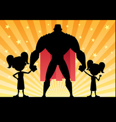 super dad 2 daughters vector image vector image