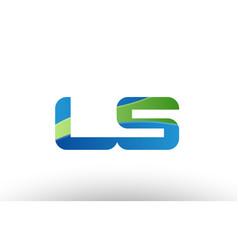 blue green ls l s alphabet letter logo vector image vector image