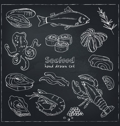 frame with hand drawn seafood vector image