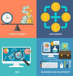 Set of flat design concept icons for business Time vector image