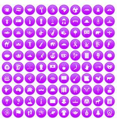 100 landmarks icons set purple vector image