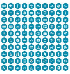 100 travel icons sapphirine violet vector