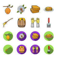 a spoon of honey protective gloves a barrel of vector image