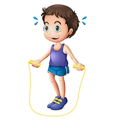 A young man playing with the skipping rope vector image