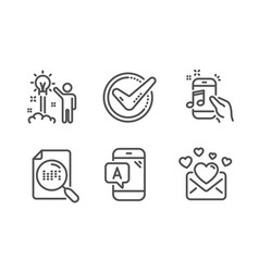 Ab testing confirmed and creative idea icons set vector