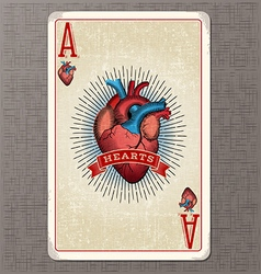 Ace hearts vintage playing card vector