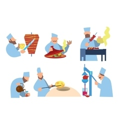 Arabic food Shawarma shish kebab lozenges vector