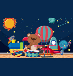 Background scene with toys on wooden floor vector