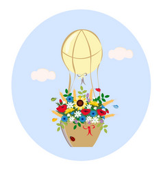 Balloon with bouquet of wildflowers vector