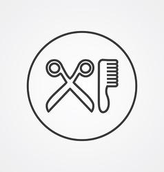 Barbershop outline symbol dark on white background vector