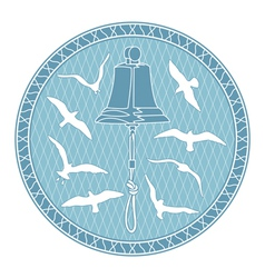 bell and seagulls vector image