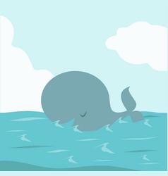 big whale fish in sea vector image