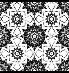 black and white seamless pattern with mandala vector image
