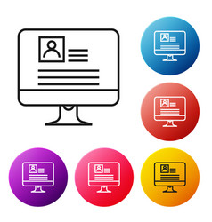 Black line computer monitor with resume icon on vector